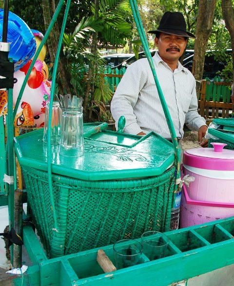 Drink vendor in parking lot