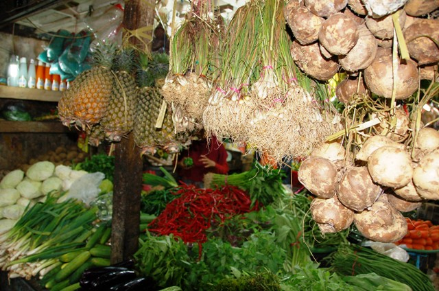 Another view of Ibu Djumiati's stall. She has the best price for pineapples!