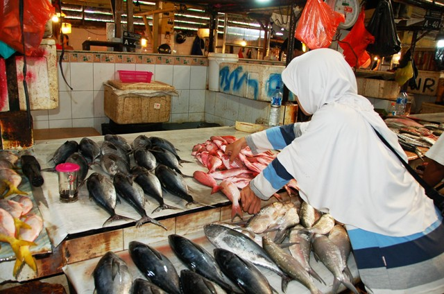 Pak Faddil's fish stall. Where I buy my Snapper and Tuna ... about $3 per kilo!