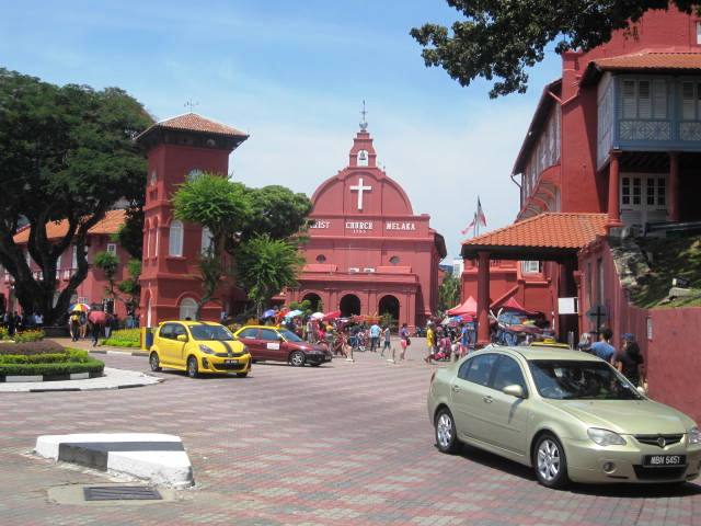 Melaka Town center. Christ church center and Stadthuys right