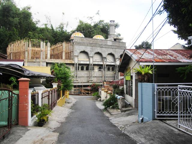 Mosque under construction in kampung near our house.