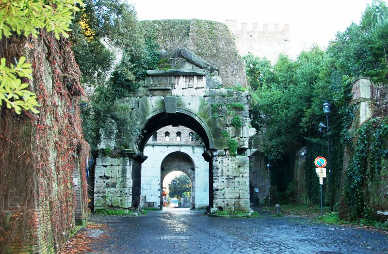 Passing through Porta San Sebastiano on our walk to Appian Way.