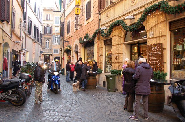 Rome during Christmas holidays outside pension where we stayed