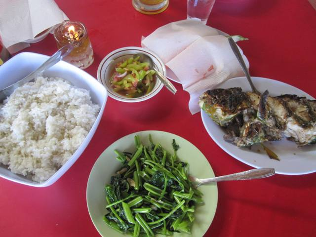 Our afternoon feast for 160,000 rupiah (about 12 USD) per person.