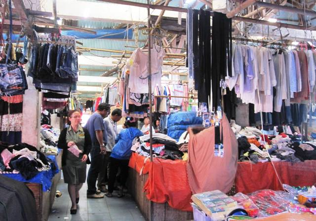 Second-hand clothes at Tomohon Market.Manado Sulawesi