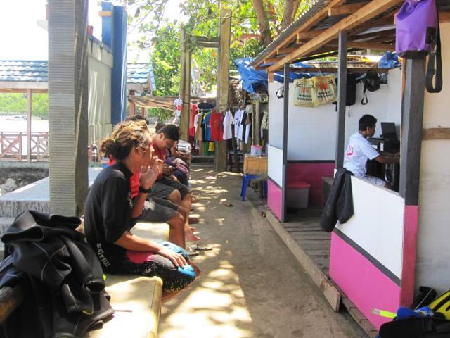 Stalls and walking path on Northwest side of Bunaken.