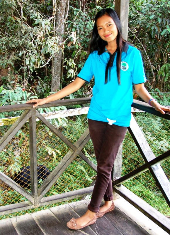 Dewi and sunbear at Sungai Wain Kalimantan