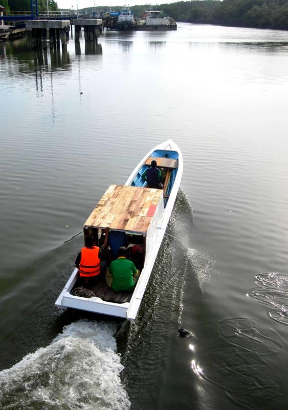 Fishing boat plying through river.Balikpapan Indonesia