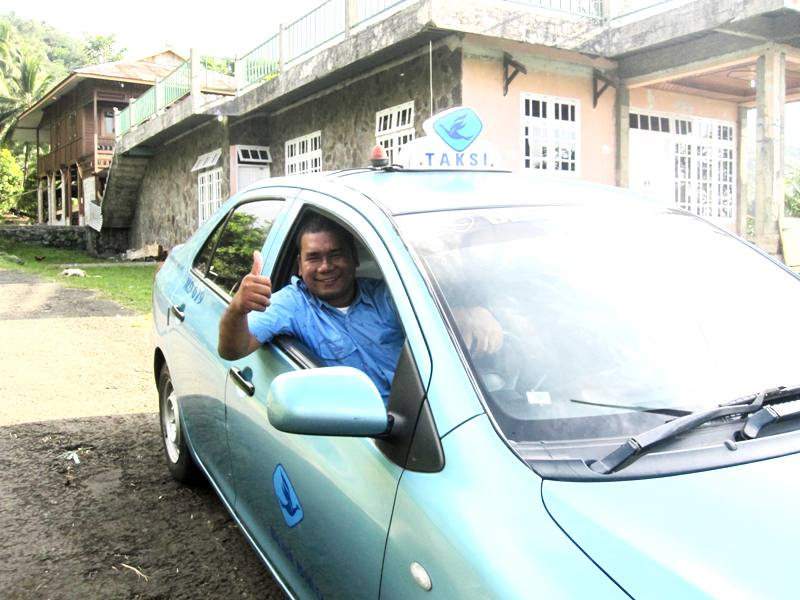 Our brave taxi driver.Blue Bird Taxi. Manado Sulawesi
