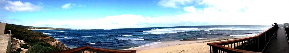 Panorama of Surfers Point at Prevelly Beach.Western Australia