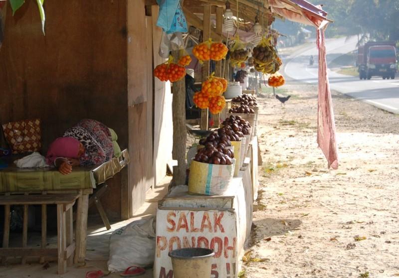 Stall selling salak and tomatoes off Samarinda Road.Balikpapan Indonesia