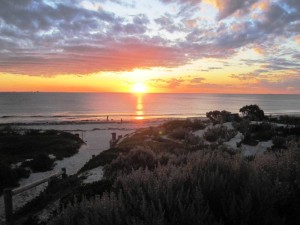 Sunset at Cottesloe Beach Perth Australia.Cycling from Fremantle to Perth