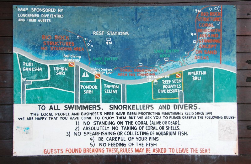 Beach and Snorkeling Map at Pemuteran Beach, Bali