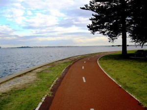 Bike Path along Swan River. Cycling from Fremantle to Perth Australia