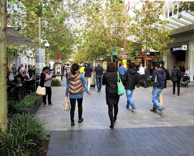 Downtown Perth.Pedestrian Mall. Australia