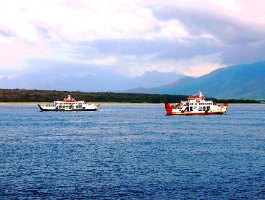 Ferries waiting to enter Gilimanuk port.Java to Bali ferry