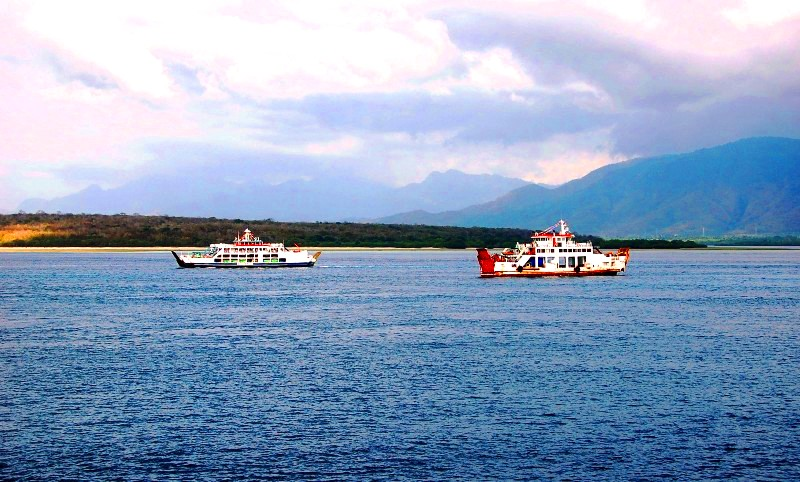 Ferries waiting to enter Gilimanuk port. Java to Bali ferry
