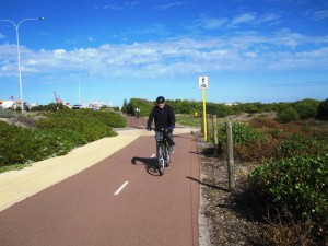 Fremantle to Perth Cycling Path along Beaches.Western Australia