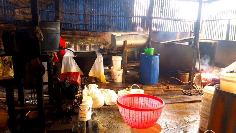 Inside tofu factory. Balikpapan, Kalimantan, Indonesia