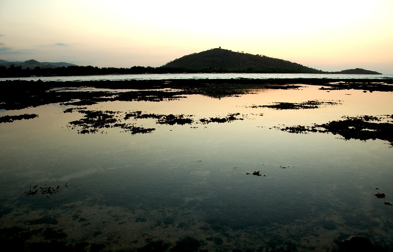 View of low tide at sunset. Pemuteran Beach, North Bali Indonesia