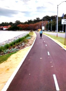 Perth Bicycle Path along Swan River.Cycling from Fremantle to Perth Australia