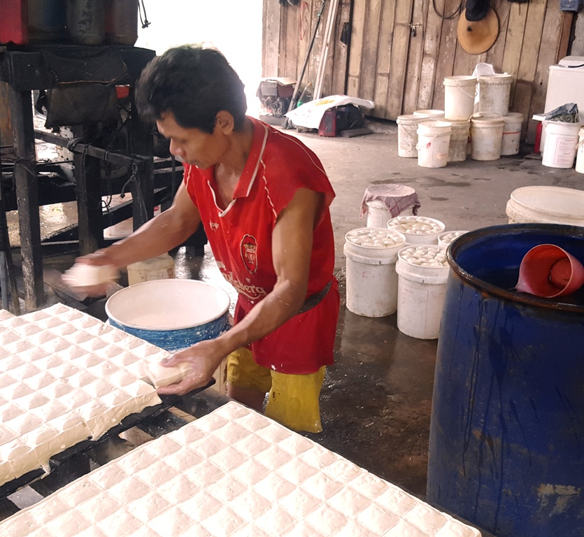 Placing cut tofu into buckets of water.Indonesia Tofu Factory