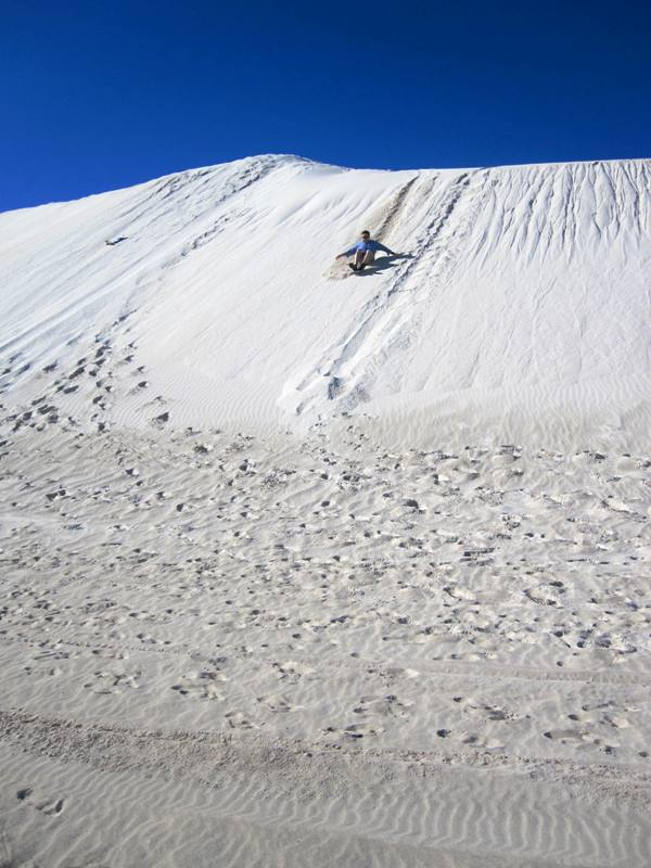 Sand boarding at Lancelin Dunes for beginners.