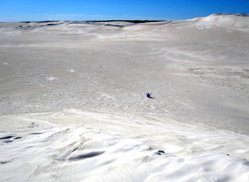 Sand boarding at Lancelin Sand Dunes