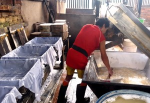 Sifting tofu curds for mold press.Indonesia Tofu Factory