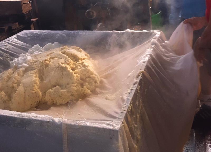 Soy pulp or Okara.Balikpapan Tofu Factory