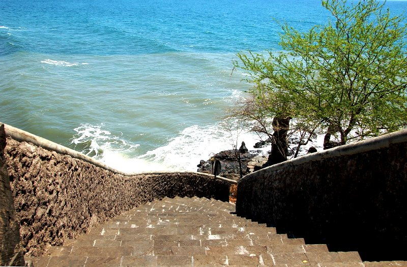 Steps leading from temple to sea at Pura Pabean.Pemuteran Bali