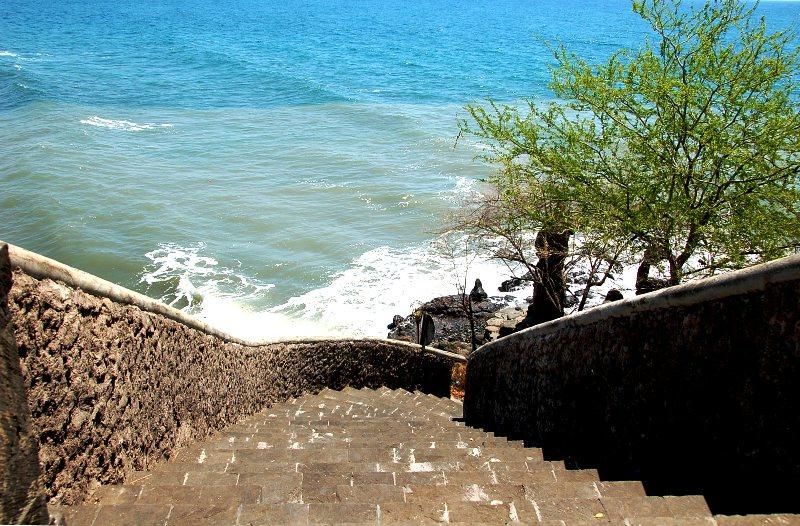 Steps leading from temple to sea at Pura Pabean.Pemuteran Bali