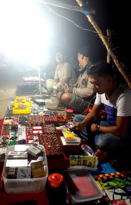Stone Rings for sale at Jl Soekarna Hatta night market.Balikpapan Indonesia