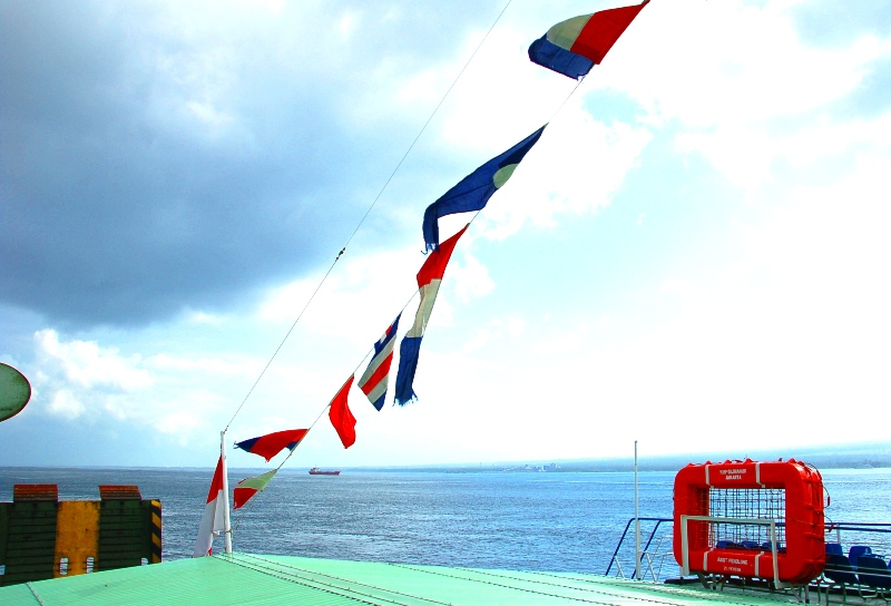 Top deck of ferry. Banyuwangi Java to Bali ferry