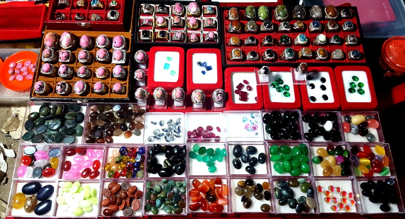 Various polished stones, gems and glass at Soekarna Hatta Night Market.Balikpapan Indonesia