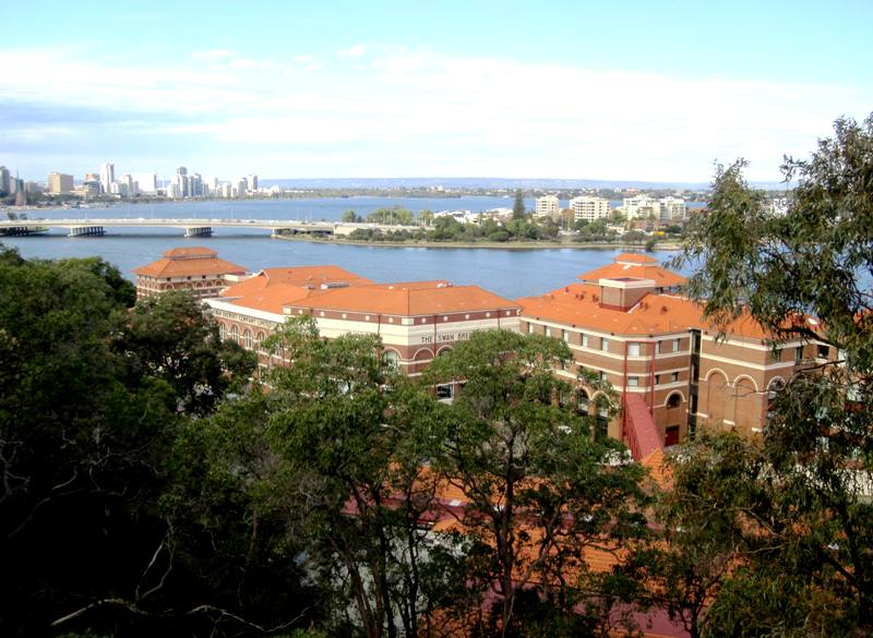 View of Perth and Swan Brewery from Kings Park.Perth Australia