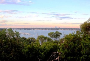 View of Perth and Swan River from bike path. Cycling from Fremantle to Perth Australia