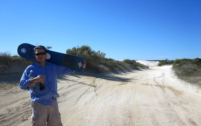 Walking to dunes from parking lot.Lancelin Western Australia