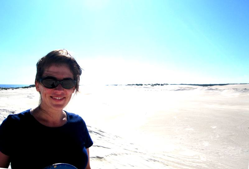 learning to sand board at lancelin dunes.western australia