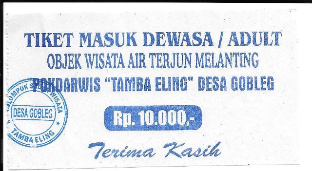 Air Terjung Entrance Ticket.Munduk Bali