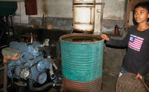 Bali Coffee Factory: Car Engine and water coolant for coffee bean processor.Munduk Bali