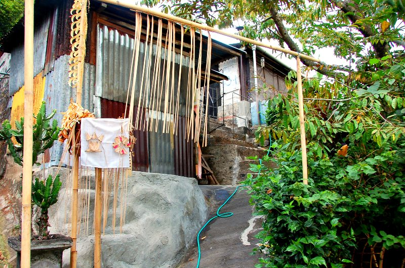 Bali Coffee Factory. Entrance to coffee processing home from waterfall trail.Munduk Bali