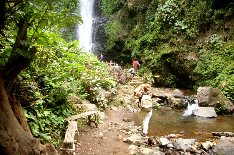 Hikers at Melanting Waterfall.Munduk Bali