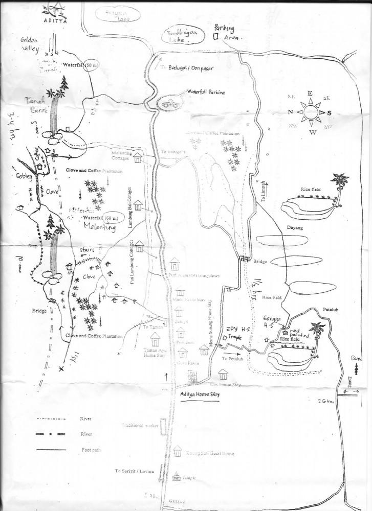 Munduk Map to Waterfalls and Rice Paddy Walk.Munduk, BaliMunduk Map to Waterfalls and Rice Paddy Walk.Munduk, Bali