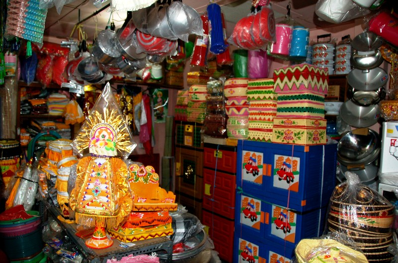 Munduk shop selling prayer baskets. Bali, Indonesia
