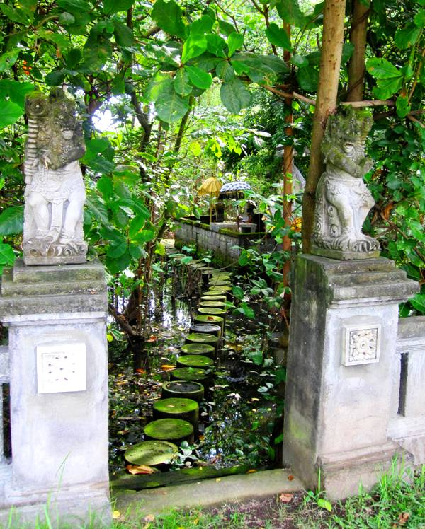 Bali temples: entrance way to temple in mangrove swamp, Sanur