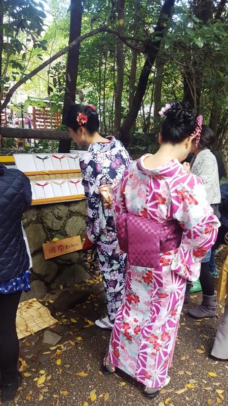 Geisha Costumes. Kyoto Bamboo Grove, Japan
