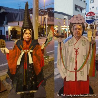 Tourists in Japan. Posing at Street Murals in Takayama.Japan