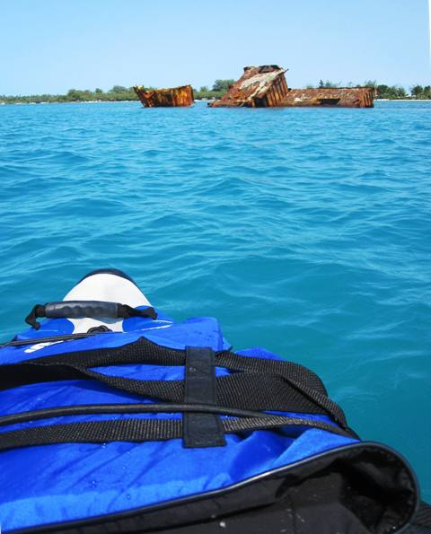 Kayaking to Manima Island off Tongatapu in Sea Eagle Kayak, Tonga