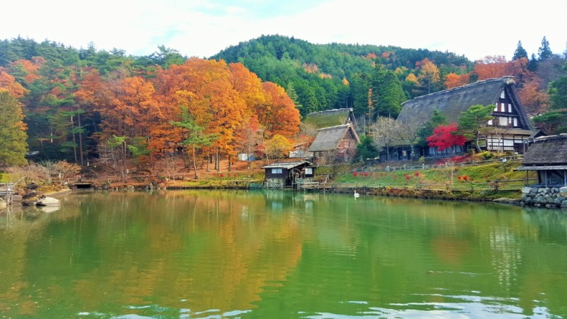 Hida Folk Village Lake Scene.Takayama, Japan